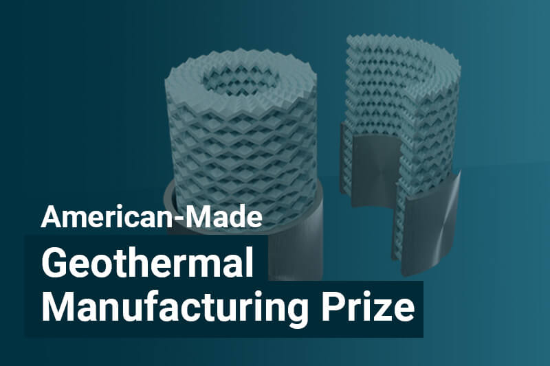 american-made geothermal manufacturing prize text with metamaterial tube concept in background
