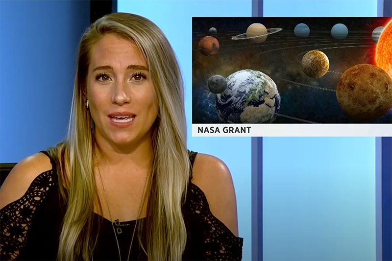 video screenshot of channel 3 news anchor discussing nasa funding