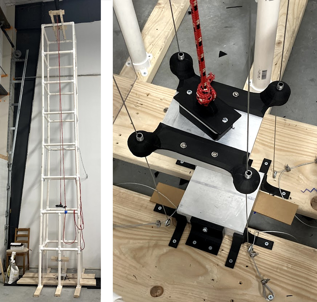 two photos: the drop tower completed and standing upright and a close up of the pleten