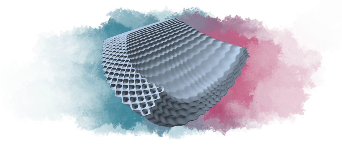 mechanical metamaterial metacore render with abstract colorful background