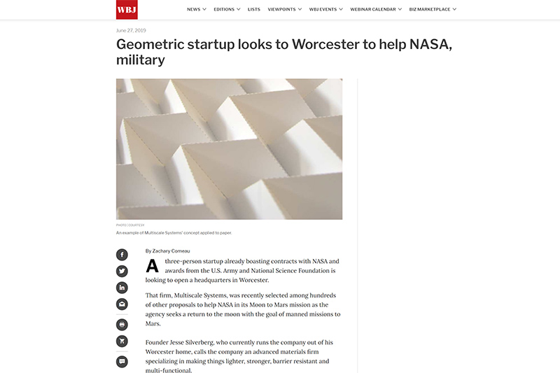worcester business journal screenshot of article about multiscale systems and nasa funding