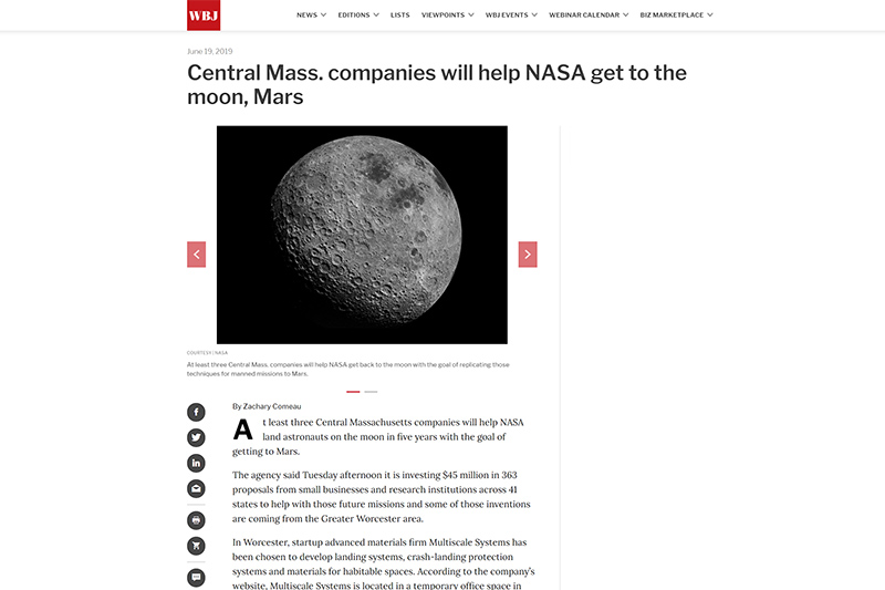 worcester business journal screenshot of article about nasa funding